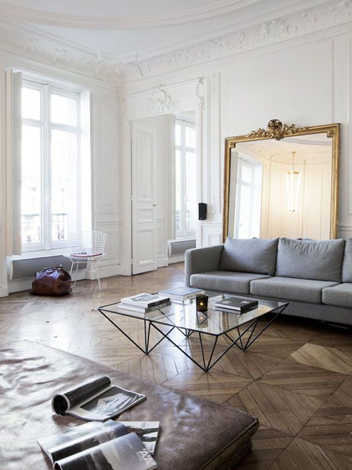 French Style Living Room Parisian Boiserie White Walls Elegant Parquet France