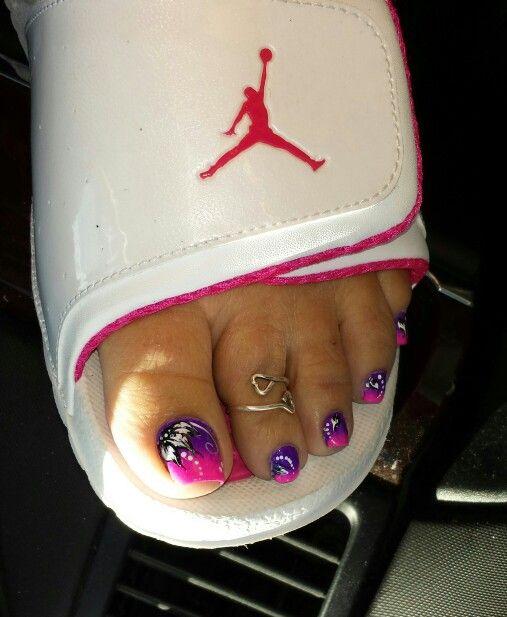 Pink Purple Toe Nail Art My Nail Art Pinterest Purple Toe