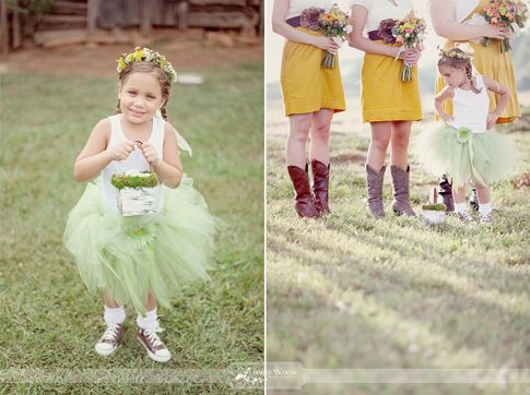 bridesmaids in cowboy boots & flower girl in chucks