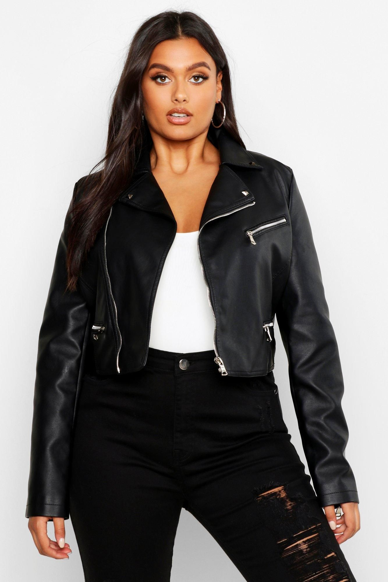 Plus Faux Leather Stud Collar Cropped Moto Jacket Boohoo In 2021 Cropped Biker Jacket Cropped Moto Jacket Cropped Leather Jacket [ 2000 x 1333 Pixel ]