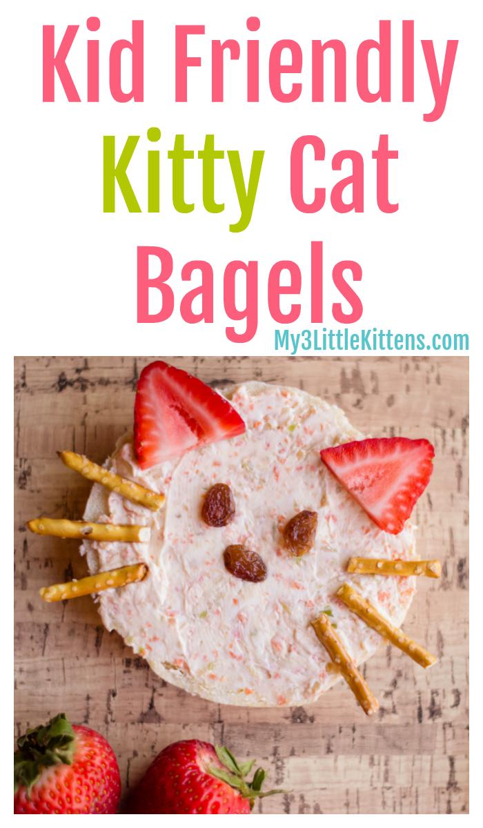 Easy Kid Friendly Kitty Cat Bagels My 3 Little Kittens Recipe Kids Snack Food Kids Snacks Cat Snacks