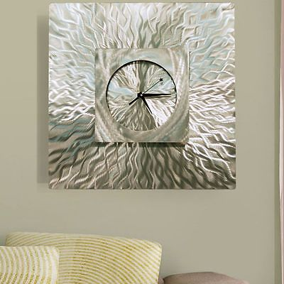Large modern silver wall clock abstract contemporary metal
