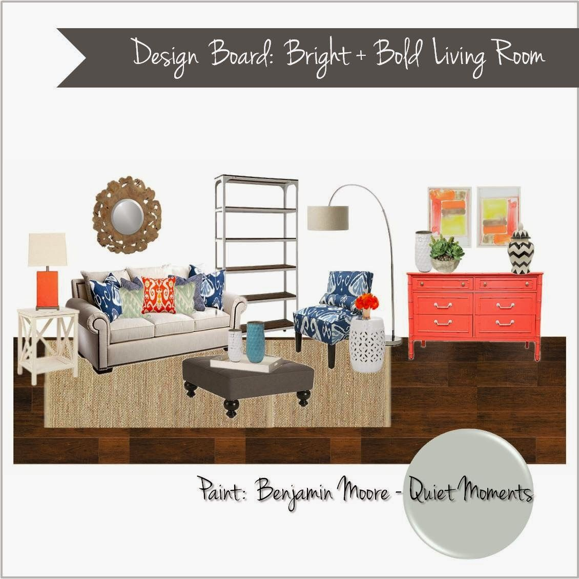 Interior Design Mood Board Bright Colors Living Room Coral Navy Gray