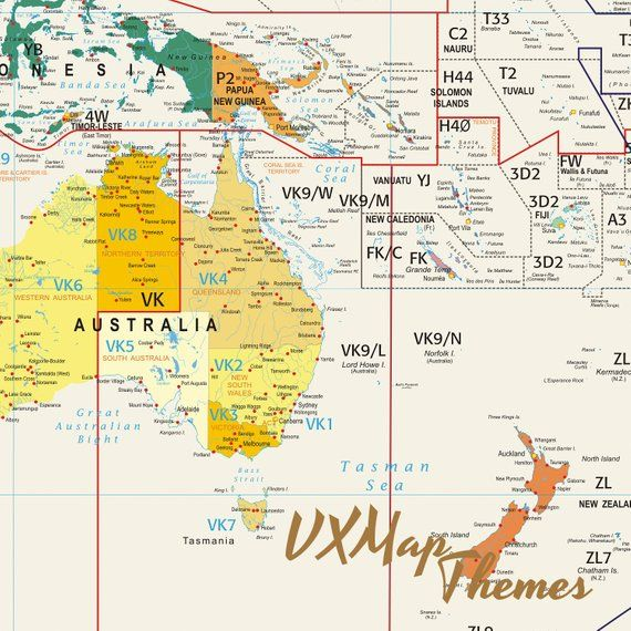 Amateur Radio World Map / With Amateur Radio Prefixes and CQ ...