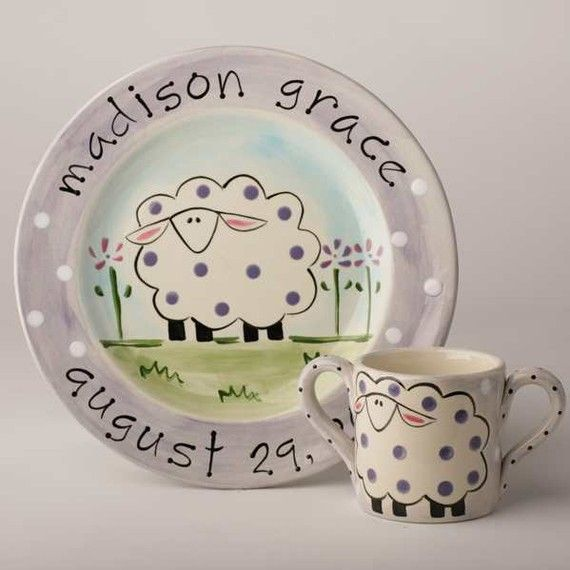 Personalized hand painted sheep baby birth plate and by suzaluna birth gift baby gift first birthday personalized hand painted baby sheep birth plate negle Image collections