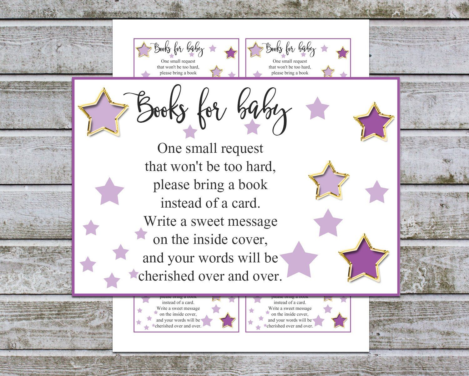 baby shower book instead of card printable