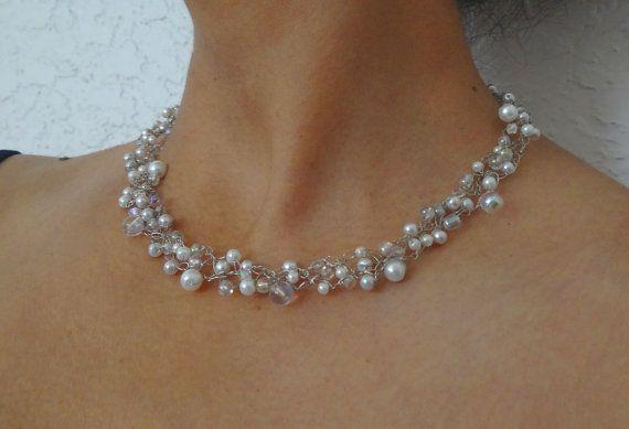 Einzigartige Hochzeits Draht Halsband Weiß Und Spitzen Perlen