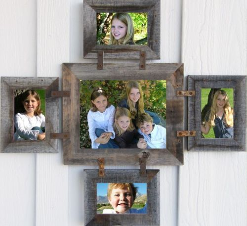 143ab4a0a37 New Barnwood Picture Frame Photo Collage Frame for 1 8 x 10 and 4 4 x 6 S