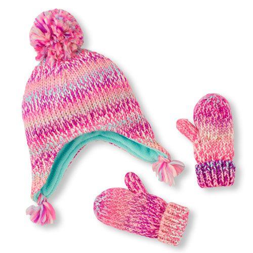 009721ae27b Baby Girls Toddler Pom Pom Hat   Mitten Set - Multi - The Children s Place