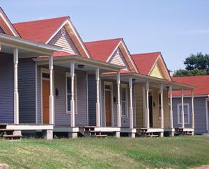 These historic shotgun houses in Memphis,Tennessee, have