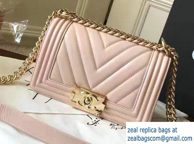 901f8733d86d2c Chanel Shine Gold Hardware Boy Chevron Flap Small Bag Pale Pink 2017 ...