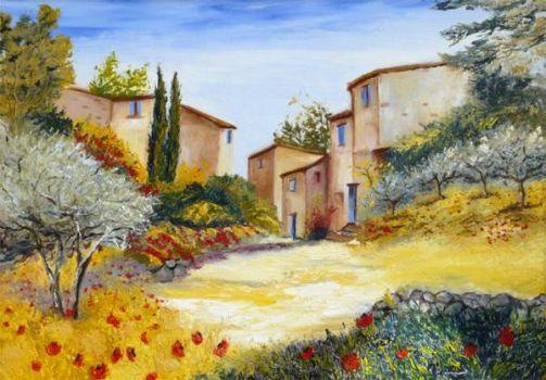 Provence Hillside Gordes Watercolor Landscape Landscape