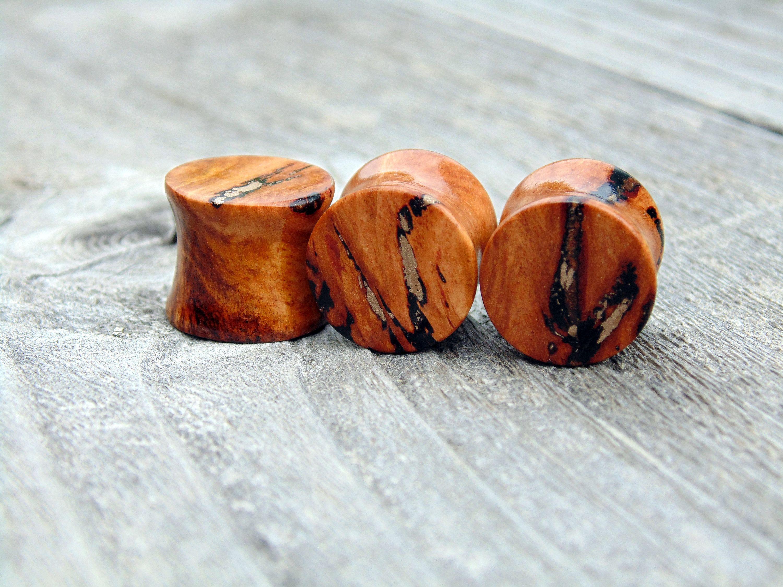 127mm Australian Eucalyptus Resin Burl Wood Ear Plugs Bronze Inlay