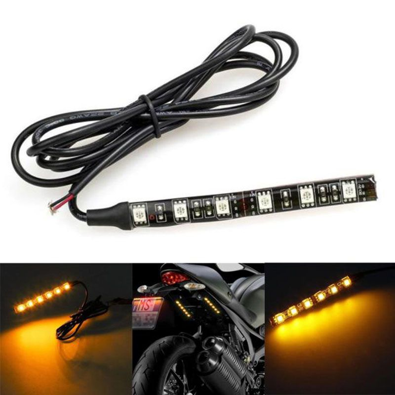 Led Light Strips For Motorcycles 1Pc 12V 6Led Mini Strip Black Led Motorcycle Turn Signal Universal
