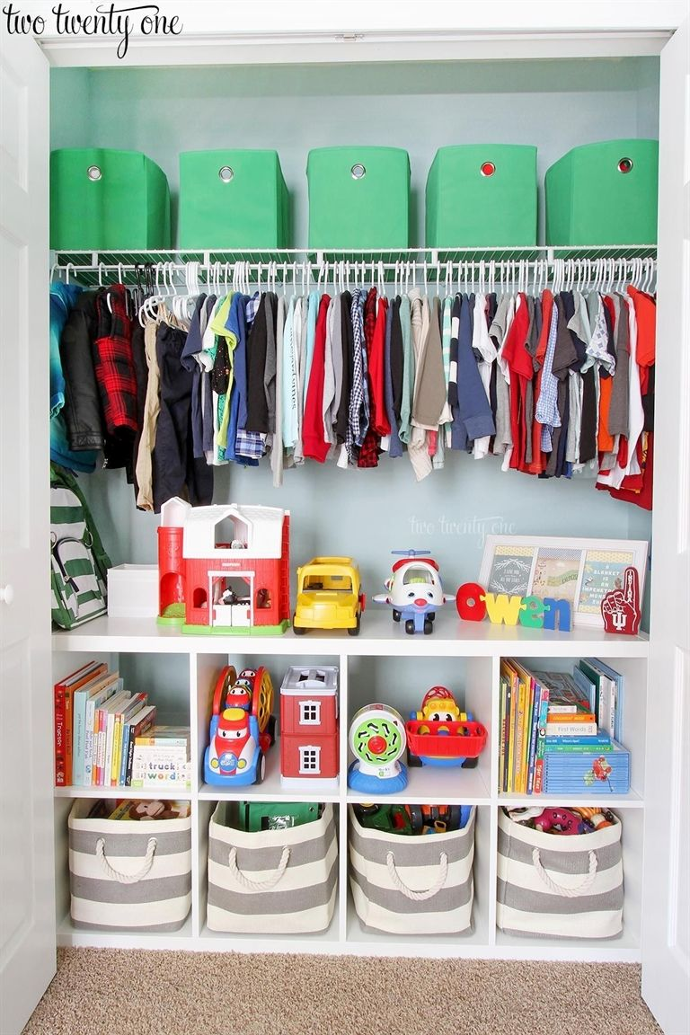 This Organized Toddler Closet Features Storage For Clothing Toys Books Diapers And Other Items Great Ideas Organizing A Child S