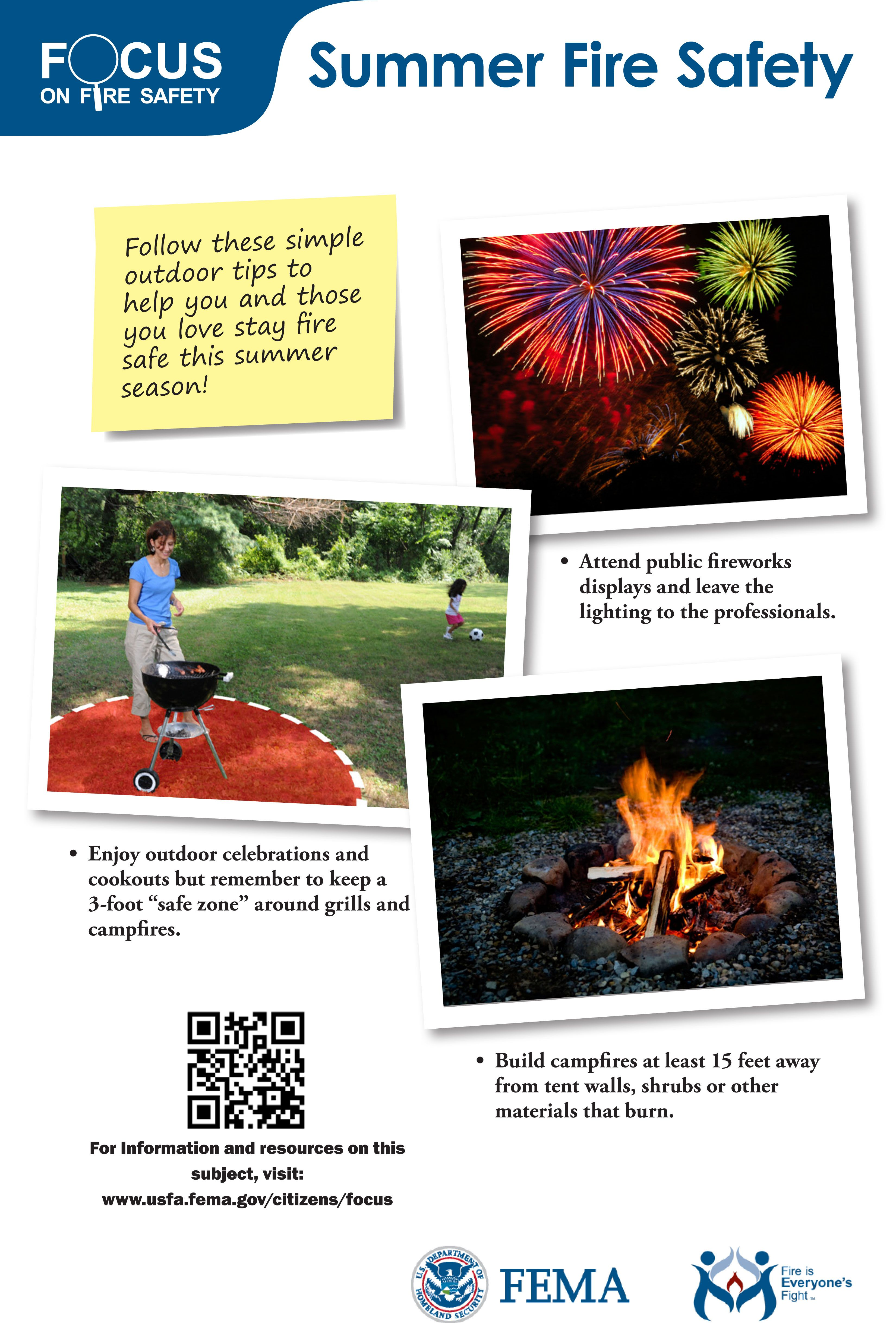 Summer fire safety Fire safety posters Pinterest
