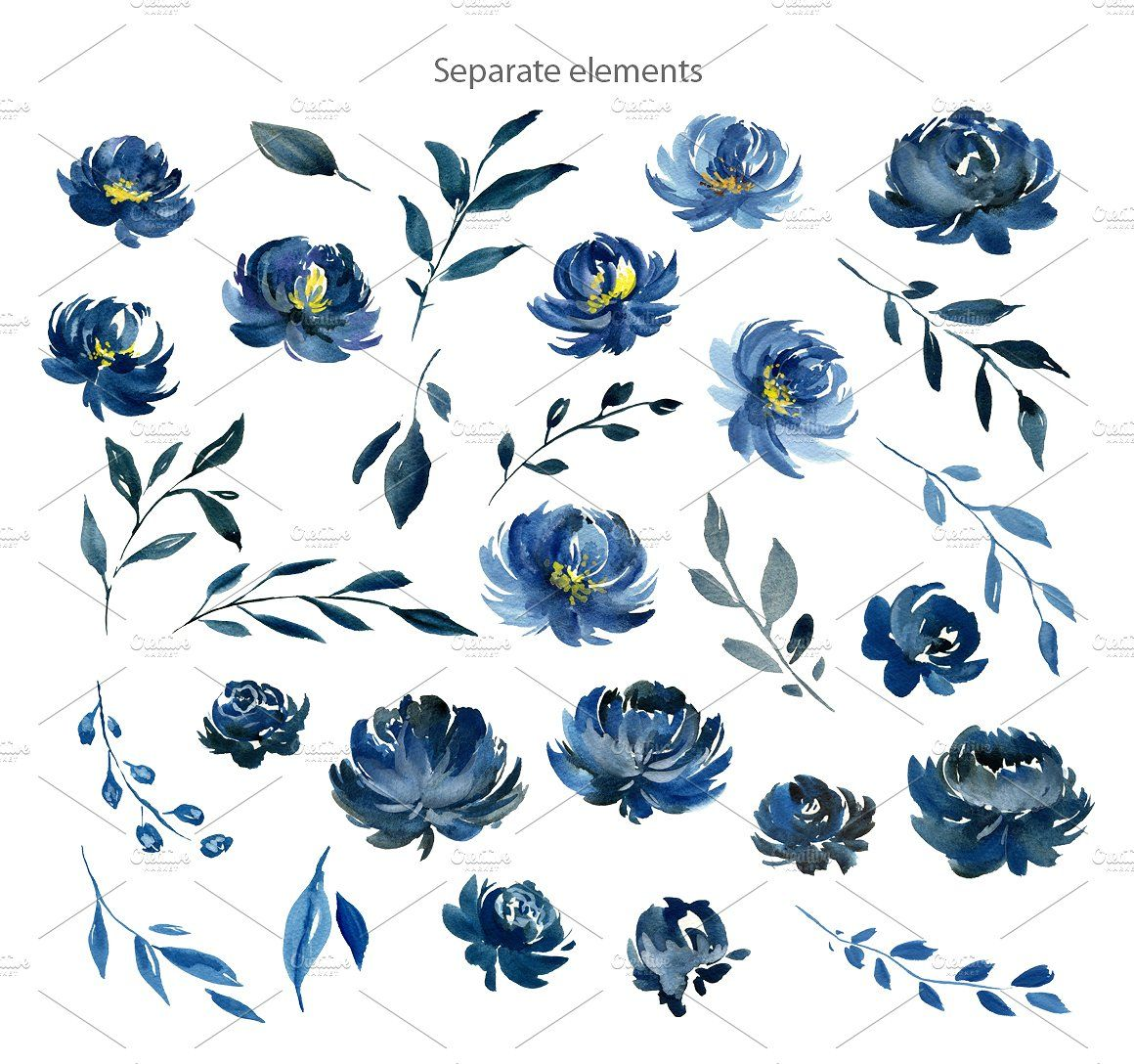 Navy Blue Watercolor Peonies Flowers Watercolor Peonies Floral
