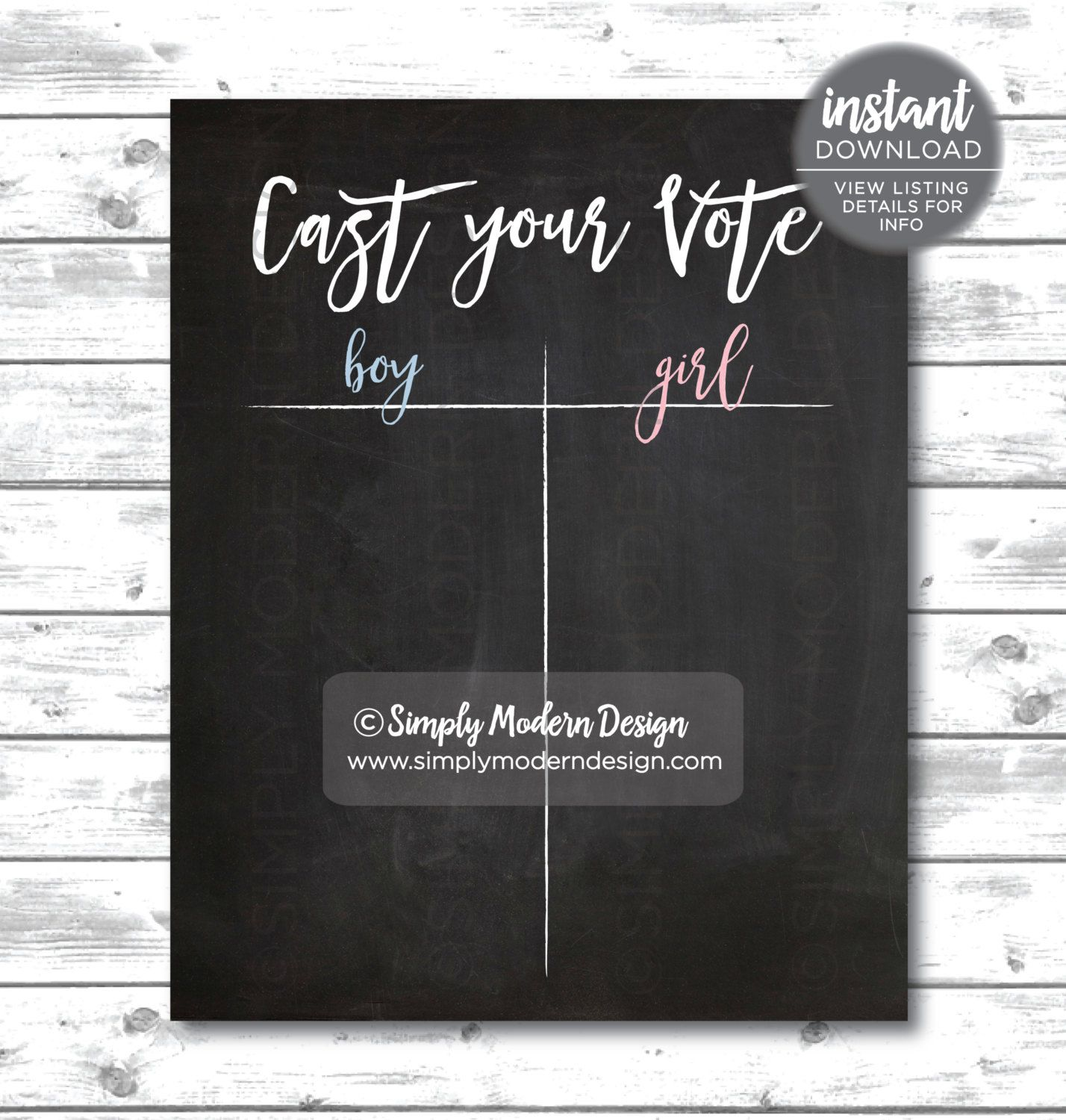 Gender Reveal Cast Your Vote Sign Tally Gender Reveal Party Boy