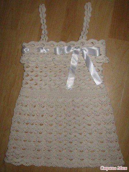 Robe fille et sa grille gratuite mod les pour b b au crochet projets essayer - Robe bebe en crochet avec grille ...