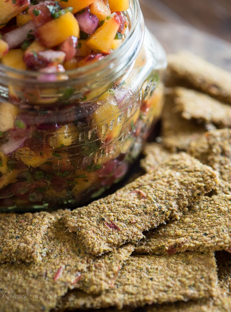 Peach salsa with raw veggie crackers susan powers raw peach salsa with raw veggie crackers susan powers forumfinder Images