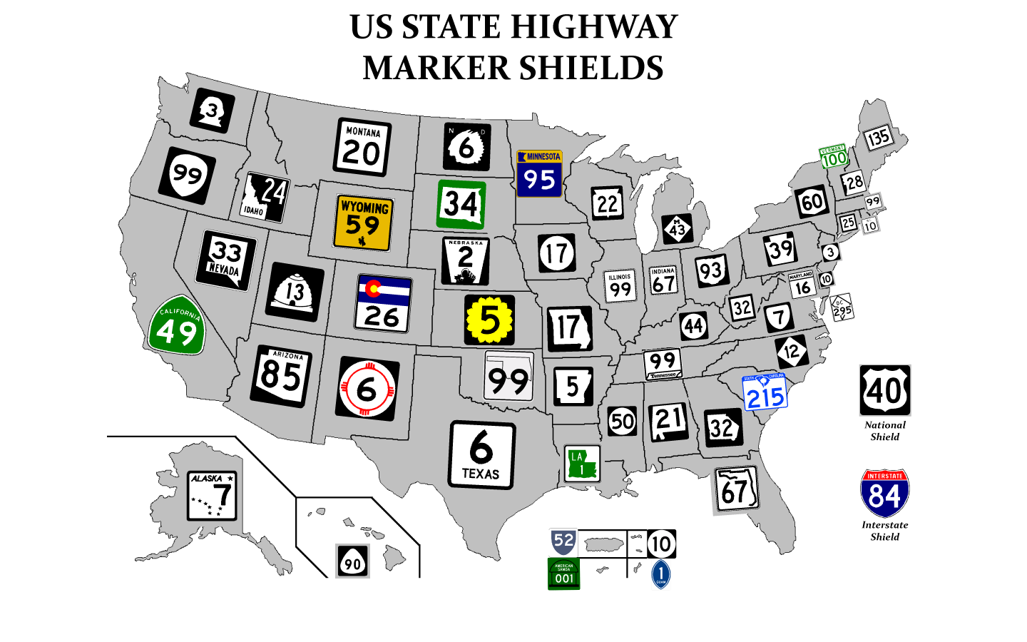 Every Highway Sign In The United States In One Map Road Trips - Staes on us map connecticut
