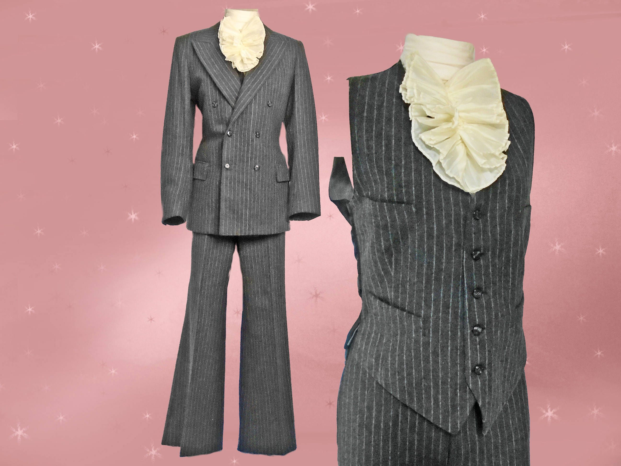 6b17eed131368c 1960s Mod Dandy Suit Mens Vintage 3 Piece Grey Flannel Pinstripe Suit,  Tapered Waist Long Jacket, Vest, Bell Bottom Trousers, Carnaby Street by ...