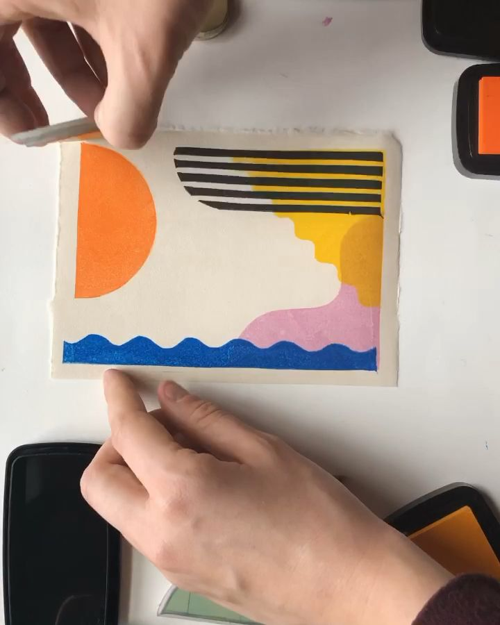 Color layering with semi transparent ink! | colors and collages, block printing, collages, abstract collage, geometric collage, colors and shapes, printmaking, collage art, collage, collage ideas,