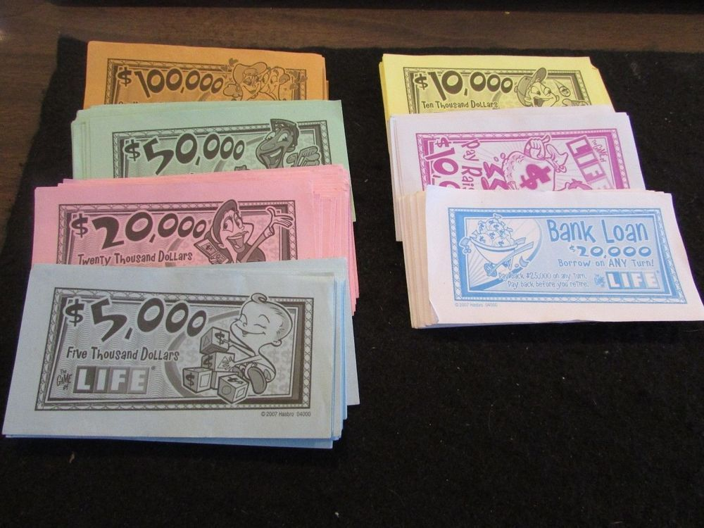 Details about 2007 the game of life lot of paper money