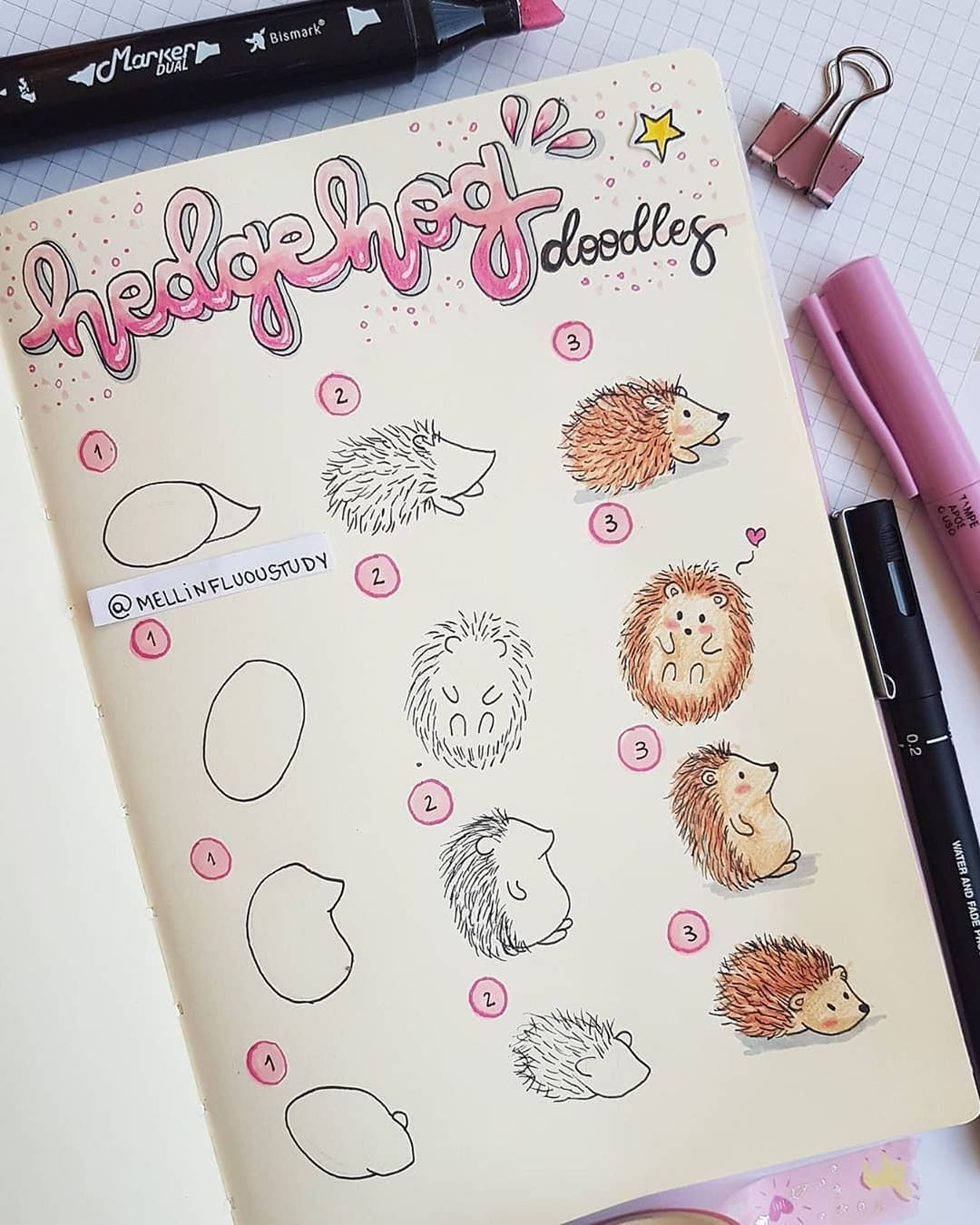 "NotebookTherapy.com | bujo 💕 on Instagram: ""How to draw a little hedgehog 🦔💞 thank you @mellinfluoustudy for this amazingly cute step by step! ✨ #notebooktherapy ⁣ Shop amazing East-…"""
