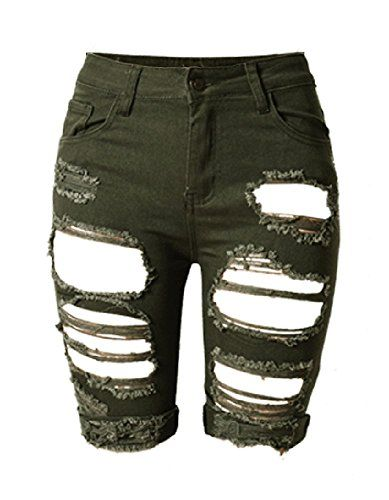 1810ecb5ec Ofenbuy Women's Denim Destroyed Mid Rise Stretchy Bermuda Shorts Jeans Plus  size