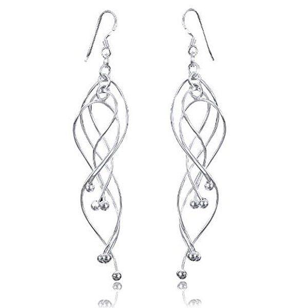 925 Silber Ohrhänger Spirale - Damen Kugel Ohrringe hängend lang 15x84mm Ohrschmuck inkl. Schmuckbox #SO-66