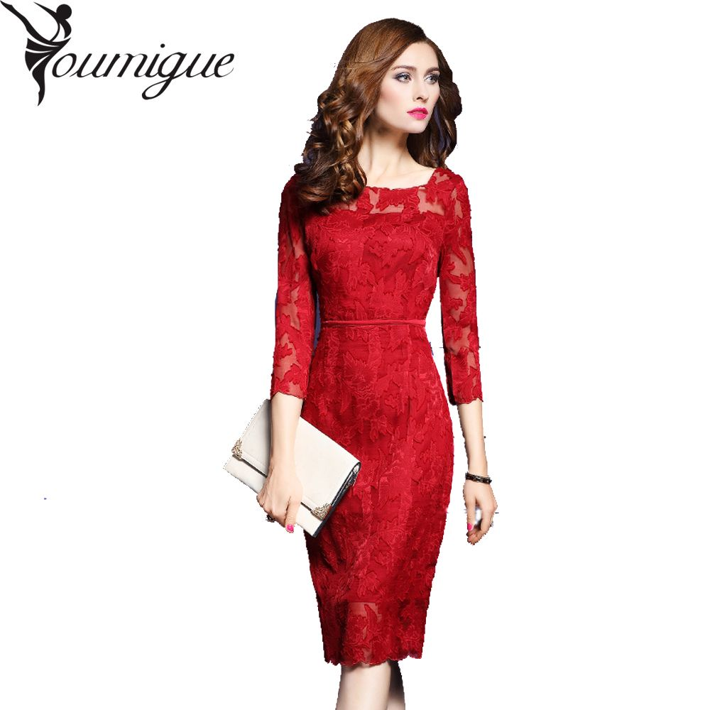YOUMIGUE Lace Dress Office Women Great Gatsby Kate Middleton Bodycon