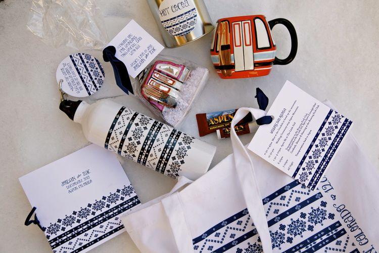 Winter wedding gift bag, Fair Isle, Navy, Ski Wedding, Aspen ...