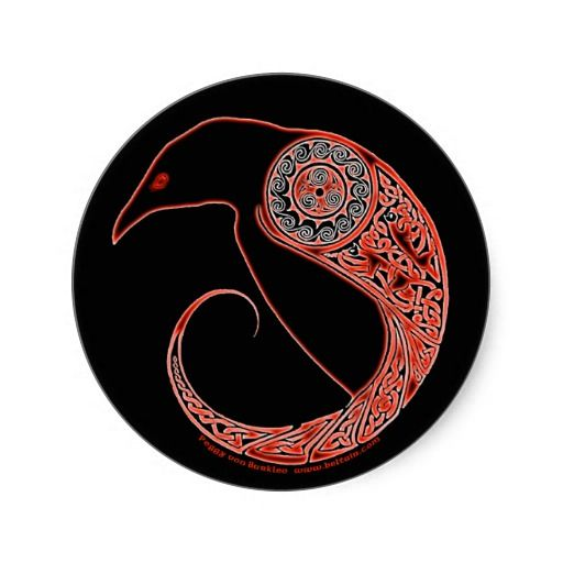 The Morrigan Celtic Raven Stickers Black Classic Round Sticker