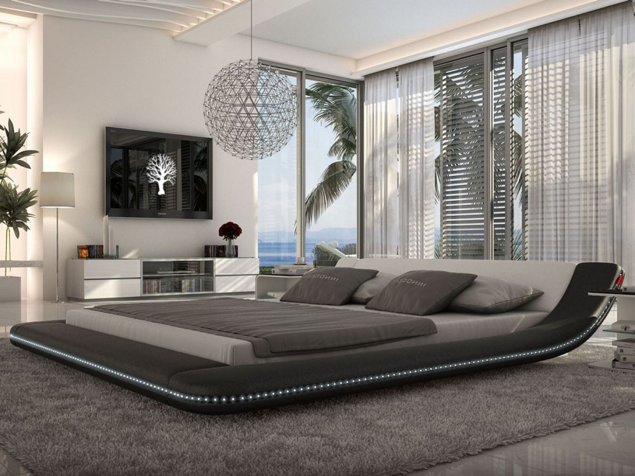 Master bedroom modern  CONTEMPORARY BEDROOM DECOR WITH HUGE MASTER BED  A modern bedroom