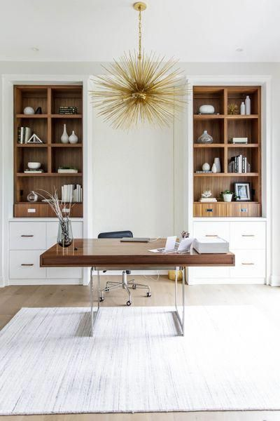 Modern office with built ins and Kelly Wearstler lighting #officedecor