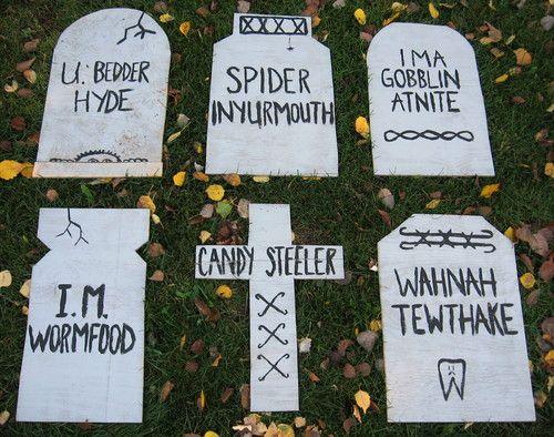 Weekend Project Easy, Funny Halloween Tombstones Halloween - funny halloween decorating ideas