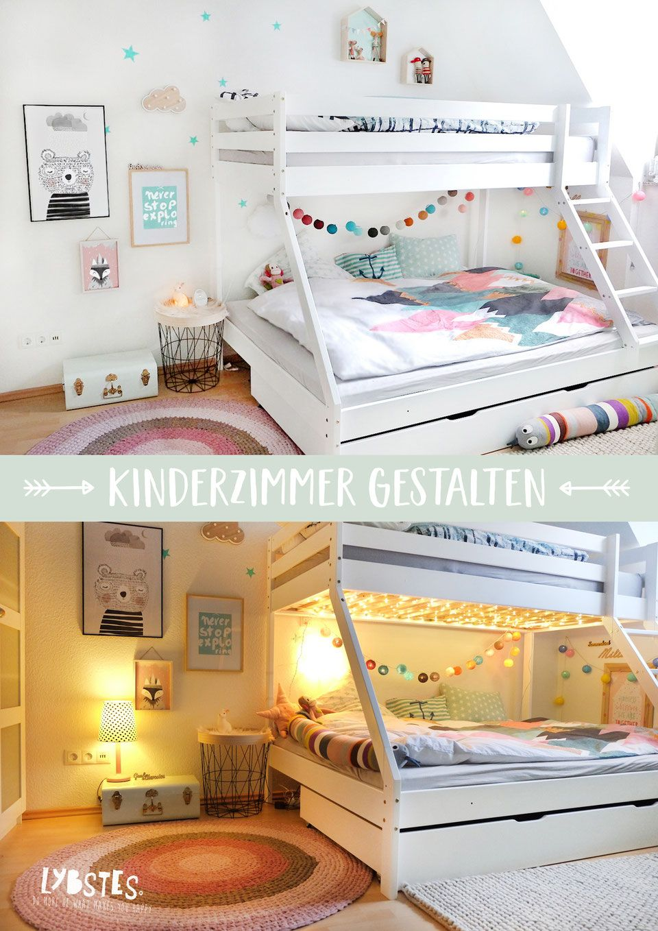 Photo of Lybstes children's room design with loft bed, cozy lighting, in pink, …
