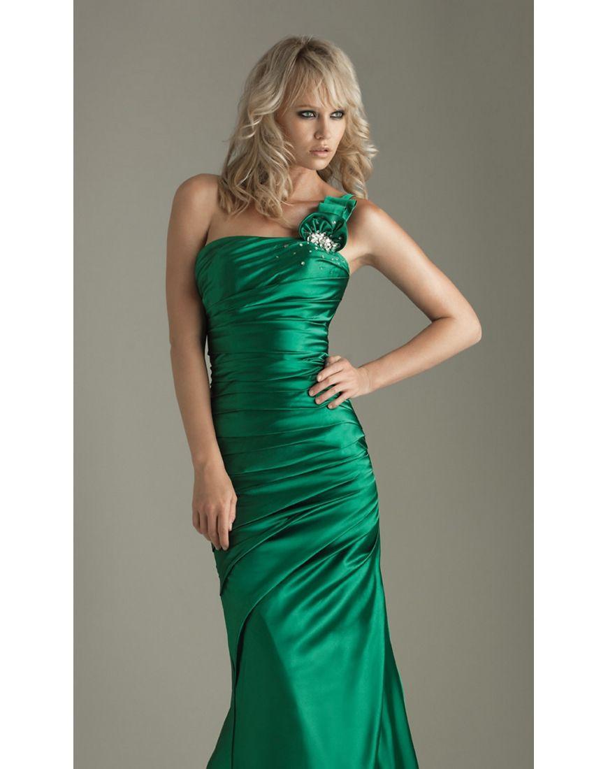 Green dress prom  Floral One Shoulder Satin Green Formal Evening Dress  Green Dresses