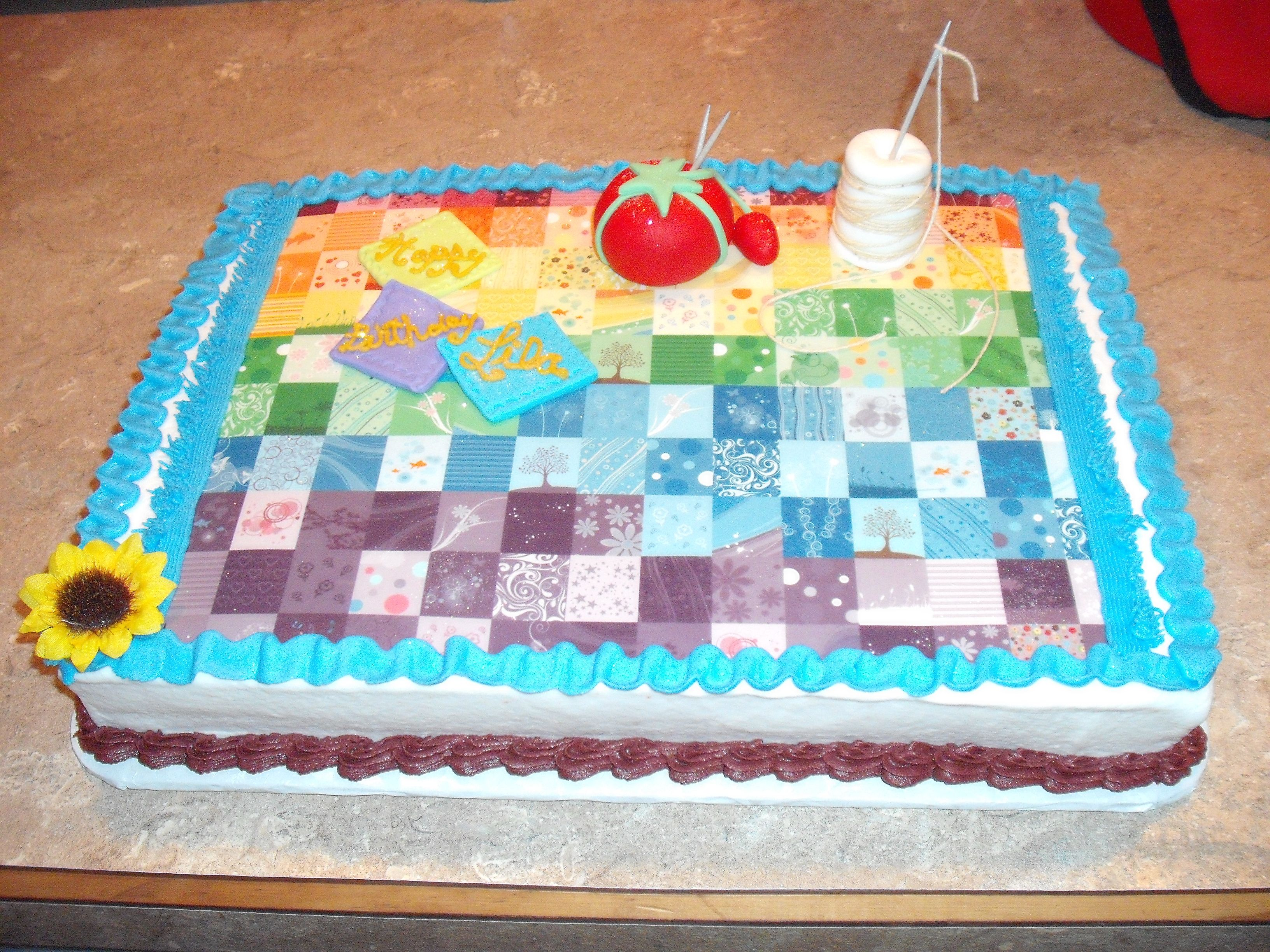 Quilting themed birthday cake! Birthday cake, Themed
