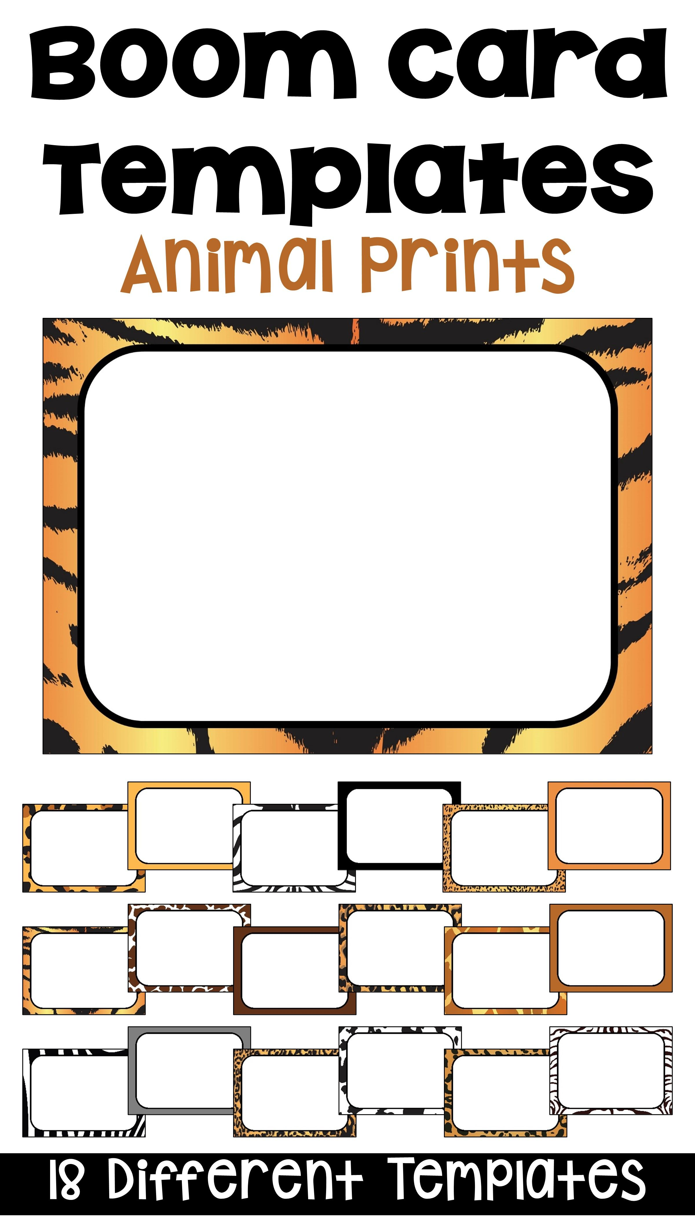 Boom Card Templates And Frames In Animal Prints Card Templates Digital Literacy Differentiation Math