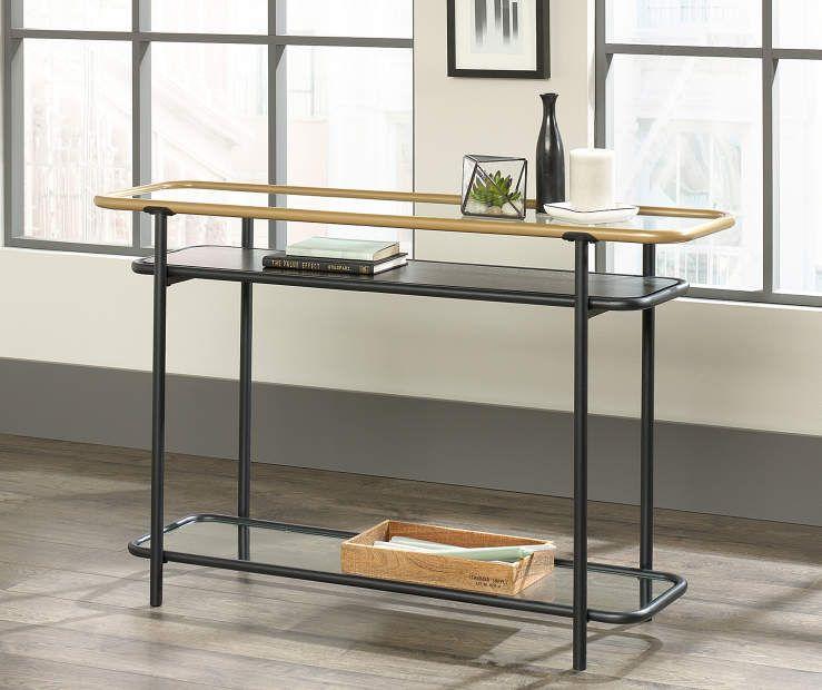 Fantastic Sauder Boulevard Cafe Black Metal Glass Console Table At Pabps2019 Chair Design Images Pabps2019Com