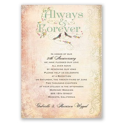 Always And Forever I Vintage Style Wedding Vow Renewal Invitation