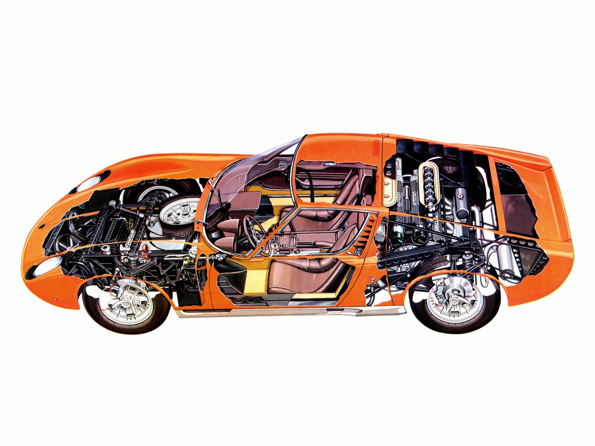 lamborghini miura p400 bertone 1966 69 cutaway