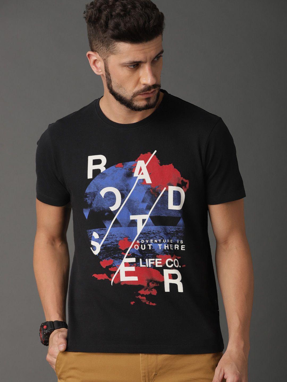 6c1803f91478 Buy Roadster Men Black Printed Round Neck T Shirt - Tshirts for Men 8240327  | Myntra