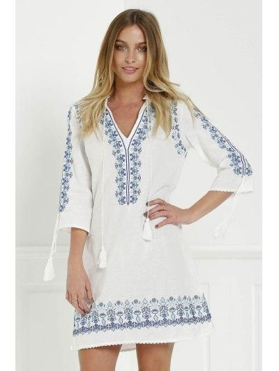 Zaful - Zaful Plunging Neck 3 4 Sleeve Floral Embroidery Dress - AdoreWe.com