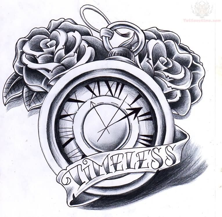 Timeless Banner And Clock Tattoo Design Jpg 765 748 Clock Tattoo Timeless Tattoo Watch Tattoos