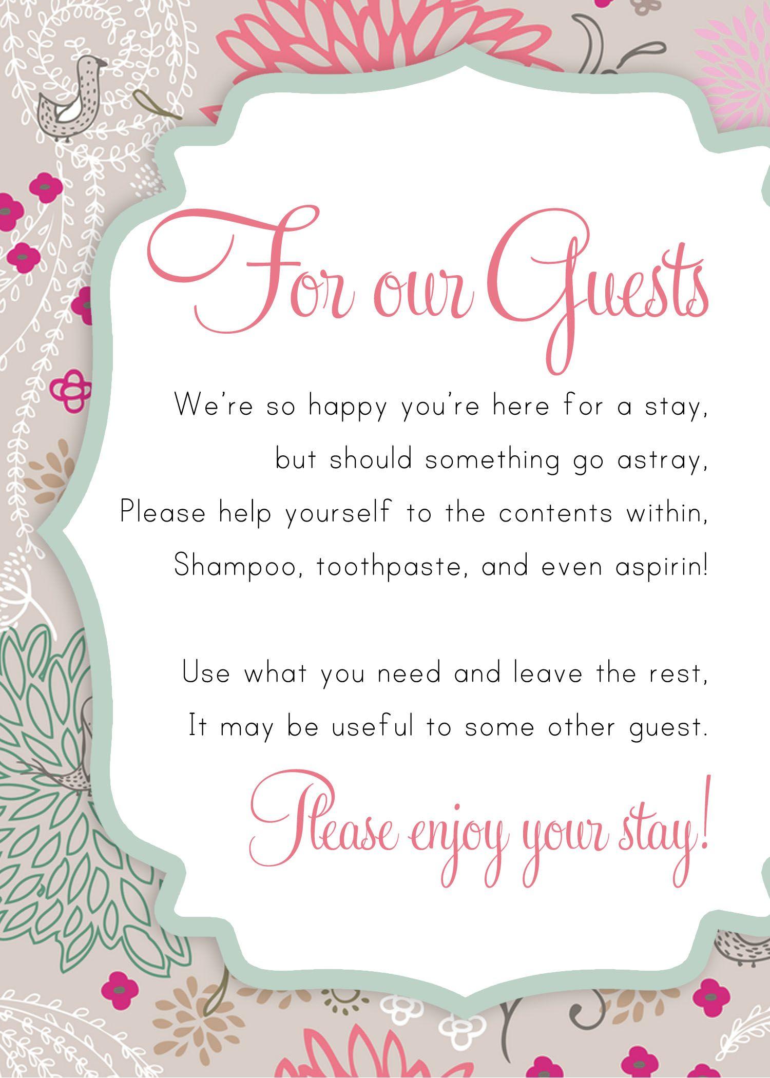 Guest Bathroom Printable | Guest room essentials, Guest ...