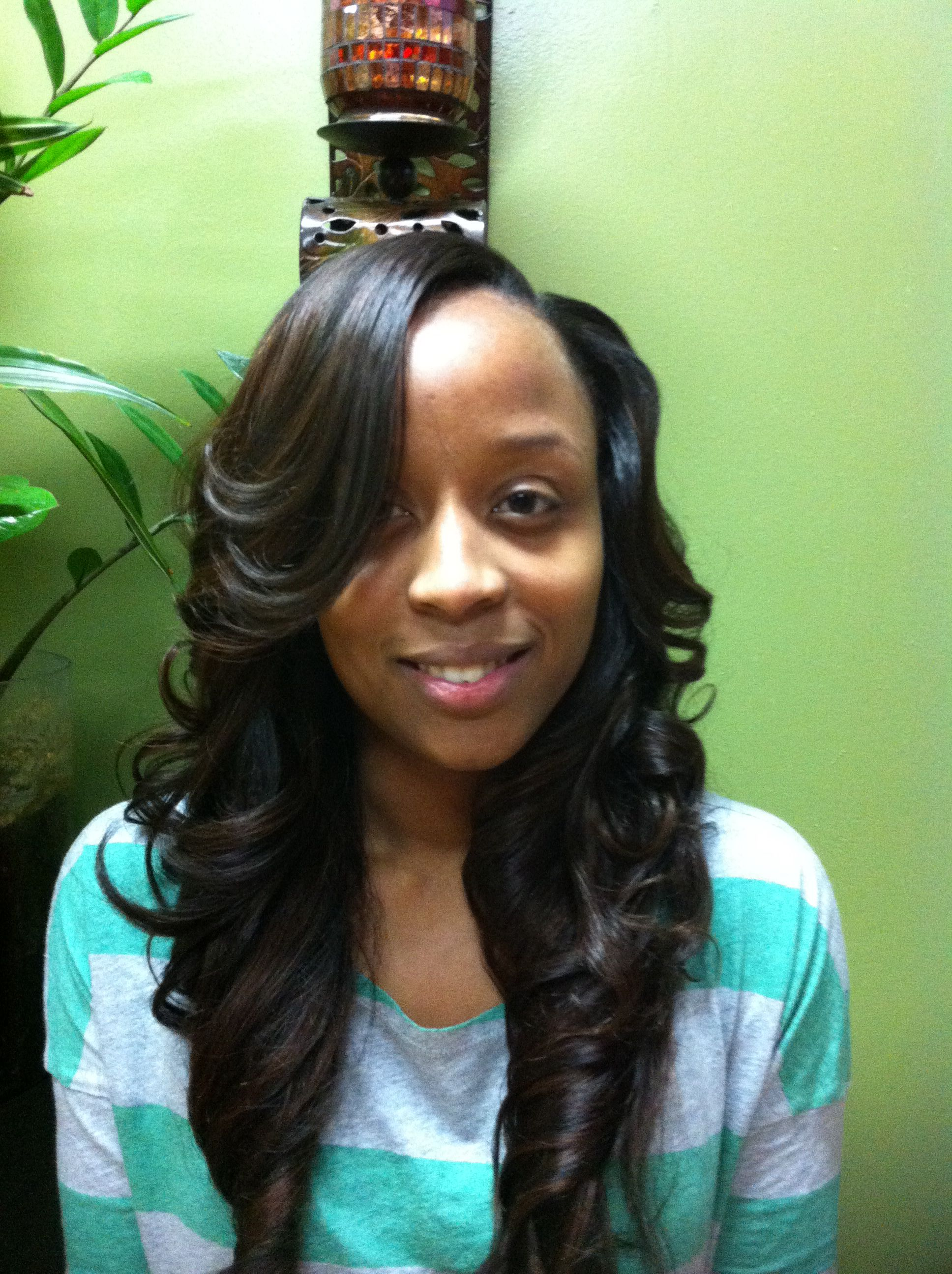 Long Weave With Layers And Side Part Tape In Hair