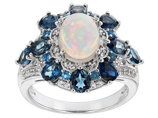 3.39ctw Ethiopian Opal, London Blue Topaz, Neon Apatite And White Zirc